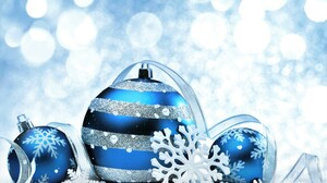 Blue Christmas Christmas Ornaments Ribbon Silver Snowflake 6480x4320 Wallpaper