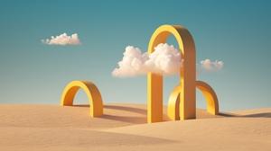 3D Render Artwork Sky Clouds Landscape Abstract Geometry Arch Yellow Desert Sand Dunes 6000x3375 wallpaper