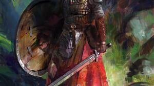 John Wallin Liberto Forest Portrait Display Shield Looking At The Side Sword Looking Away Digital Ar 1398x1920 Wallpaper