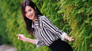 Asian Model Women Long Hair Brunette Black Skirts Striped Shirt Bushes Depth Of Field 1920x1280 Wallpaper