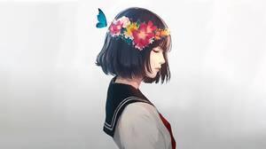 Digital Art Black Hair Short Hair Sailor Uniform Flowers Flower In Hair Butterfly White Background C 4096x2304 Wallpaper