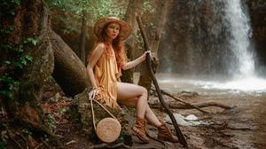Women Oksana Butovskaya Hat Redhead Freckles Dress Boots Trees Waterfall Model Women Outdoors 2024x1139 Wallpaper