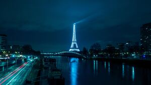 City Eiffel Tower France Light Monument Night Paris River 4481x3365 wallpaper