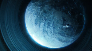 Planet Digital Art Space Space Art Planetary Rings Science Fiction 3816x1296 Wallpaper