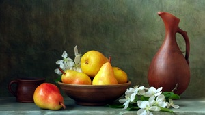 Bowl Pear Flower Pitcher Cup 1920x1200 wallpaper