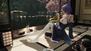 Women CGi 3D Rui Li Rem Re Zero Re Zero Kara Hajimeru Isekai Seikatsu Maid Outfit Short Hair Blue Ha 1920x1080 Wallpaper