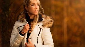 Blonde Coat Depth Of Field Earrings Girl Model Woman 2048x1365 Wallpaper