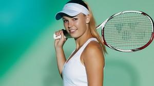 Caroline Wozniacki Blonde Women Athletes Tennis Sports Simple Background Smiling Looking At Viewer T 3840x2400 Wallpaper