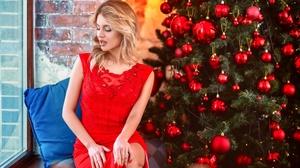 Woman Girl Blonde Red Dress Mood 2560x1864 wallpaper