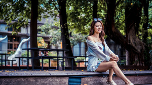 Asian Model Women Long Hair Brunette Sitting Trees Depth Of Field Table Bench Steps Sunglasses Blous 3840x2559 Wallpaper