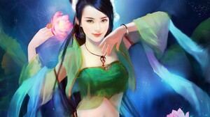 Black Hair Fantasy Girl Lotus Oriental Woman 2244x1694 Wallpaper