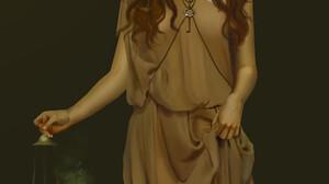 Simple Background Dress Women Looking At Viewer Brunette Brown Dress Digital Art Digital Painting Fa 1920x2782 wallpaper