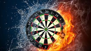 Artistic Dart Board Darts Elemental Fire Flame Water 4500x2974 Wallpaper