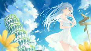 2D Blue Hair Anime Anime Girls Dress Sun Dress Yellow Eyes Rurudo Artwork 1571x1000 wallpaper