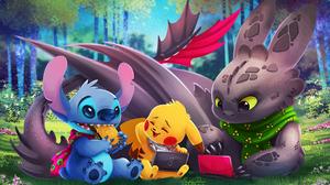 Stitch Lilo Amp Stitch Pikachu Toothless How To Train Your Dragon Lilo Amp Stitch Pokemon How To Tra 2400x1600 Wallpaper
