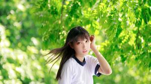Gym Wear Asian White T Shirt Zhou Ying 4480x6720 wallpaper