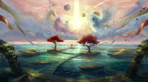 Grayfox Windmill Fantasy Art Wolf Owl Birds Cats Planet Trees Water 1600x970 Wallpaper