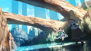 Landscape Fantasy City Saraki Anime Girls Reflection Original Characters 1920x1080 Wallpaper