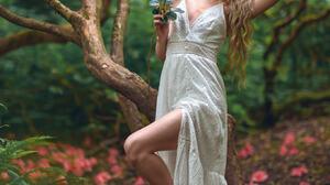Women Model Women Outdoors Looking At Viewer Barefoot Trees Legs Leg Up Blonde Long Hair Dress White 1363x2048 wallpaper
