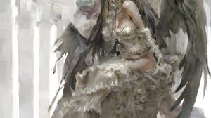 Christian Angel Horns Portrait Display Anime Drawing Albedo OverLord Anime Girls Fan Art ArtStation  1100x1700 wallpaper