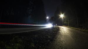 Nature Long Exposure Lights Trees Road Street Lens Flare Stars Night 6000x3376 Wallpaper