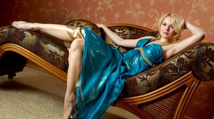Barefoot Blonde Blue Dress Feet Girl Model Sofa Woman 4000x2556 Wallpaper