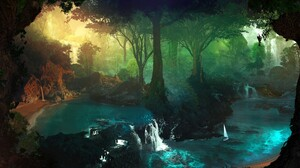 Forest Trees Artwork Nature Water T1na Desktopography 2560x1440 Wallpaper