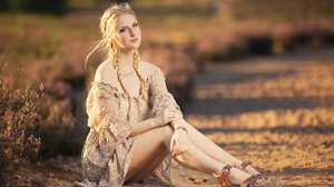 Women Model Women Outdoors Blonde Sitting Looking At Viewer 2048x1365 Wallpaper