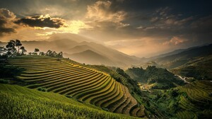 Nature Landscape Field Terraces Mountains Mist Sunset Valley Clouds Sky Bali Indonesia Rice Paddy 1920x1280 Wallpaper