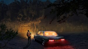Wood Car Night Forest Artwork Fantasy Art Digital Art Trees Vehicle 4096x2986 Wallpaper