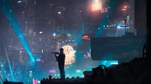 Artwork Digital Art Cyberpunk Cyber City Violin Neon 3840x2035 Wallpaper