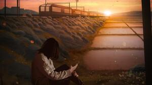 Portrait Display Sunset Train Orange Sky Women Alone Digital Art Digital Painting Fan Art Artwork 1920x2560 Wallpaper