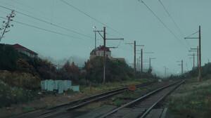Jonny Sun Digital Art Railway Powerlines Utility Pole House 3840x1600 Wallpaper
