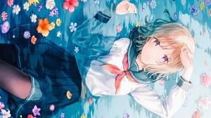 Flower Water School Uniform Skirt Blonde Purple Eyes Short Hair 4950x3500 Wallpaper