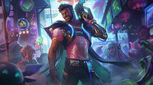 League Of Legends Riot Games Akshan League Of Legends Cyberpunk Brunette Yellow Eyes T Shirt Pink T  1920x1080 Wallpaper