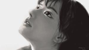 Digital Art Monochrome Face Asian 1920x1080 Wallpaper