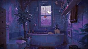 Artwork Bathroom Bathtub Interior Night Moon Women 1920x1080 Wallpaper