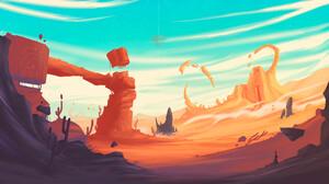 Christian Benavides Digital Art Fantasy Art Cactus Desert Pyramid Rock Formation Surreal Dunes 2323x1307 Wallpaper