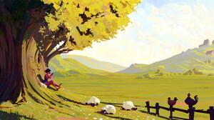 Sheep Girl Field 2160x1080 Wallpaper