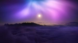 Purple Background Clouds Nature Sun Aurora Mountains Landscape Panoramic View Stars 1920x1080 Wallpaper