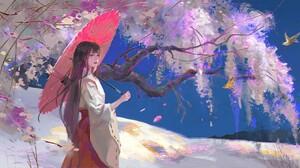 Tea Me Digital Art Women Kimono Arrows Flowers Umbrella Birds 1920x929 wallpaper