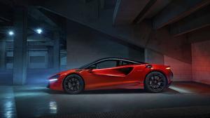 McLaren Artura McLaren Car Sports Car Hybrid Electric Car Red Cars Low Light Parking Lot 3840x2160 Wallpaper
