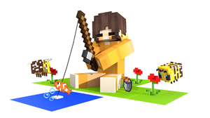 Bee Fishing Minecraft 3840x2160 Wallpaper
