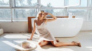 Angelina Aisman Max Klipa Bath Window Looking At Viewer White Dress Blonde Hat Tattoo Heels Hand On  2800x1867 wallpaper