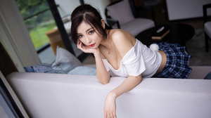 Model Women T Shirt Bare Shoulders Asian 5400x3600 Wallpaper
