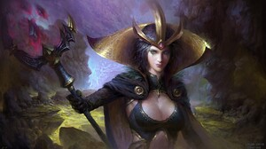 Blue Eyes Crown Fantasy Girl Leblanc League Of Legends League Of Legends Short Hair Sorceress Staff  1920x1080 Wallpaper