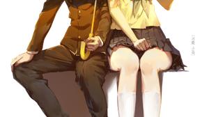 Hyouka Anime Girls Anime Boys Short Hair Blond Hair Messy Hair 2D Vertical Hair In Face School Unifo 1050x1532 Wallpaper