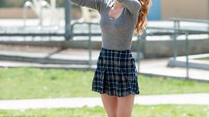 Bella Thorne Women Actress Legs Basketball Movies Redhead Sneakers Knee High Socks Long Hair Jumping 1280x1920 Wallpaper