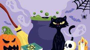 Cats Skull Pumpkin Candles Broom Halloween 1920x1229 Wallpaper