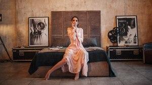 Alexey Kishechkin Women Ksenia Kokoreva Brunette Looking At Viewer Pink Dress Bed Barefoot 2560x1440 wallpaper